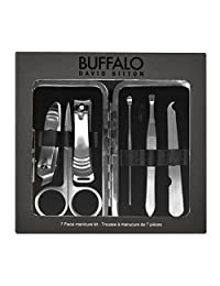 Buffalo David Bitton 7pc Manicure Set, Boxed, Black Case, Stainless Steel Implements, International Carry-On