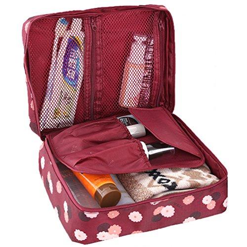 HiDay Stampa Floreale Cosmetico di Trucco Borsa da Viaggio da Toeletta Organizzatore - 5 Scomparti