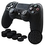 Pandaren STUDDED Anti-slip Silicone Cover Skin Set for PS4 /SLIM /PRO controller(Black controller skin x 1 + FPS PRO Thumb Grips x 8)