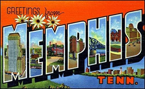 - MAGNET 3x5 inch Vintage Greetings from Memphis Sticker (Old Postcard Art Logo tn) Magnetic vinyl bumper sticker sticks to any metal fridge, car, signs