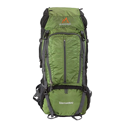 MISSION PEAK GEAR Sierra 4800 80L Internal Frame Hiking Backpack (Army Green)