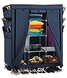 Smart-Home 69'' Portable Closet Storage Organizer Clothes Wardrobe With Shoes Rack Shelves [Navy Blue, 69'' (L) x 51: (W) x 17.5'' (D)]