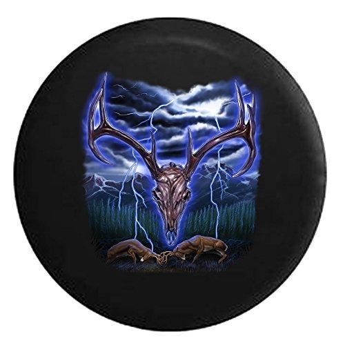 Deer Antler Skeleton Fighting Bucks Stormy NightSpare Tire Cover Black 32 in ()