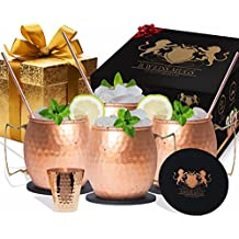 B.WEISS Moscow Mule Copper Mugs Set Of 4-All Inclusive set- 100% HANDCRAFTED-Pure Solid Copper gift set +BONUS 4 copper straws +1 copper shot glass+ 4 coasters!