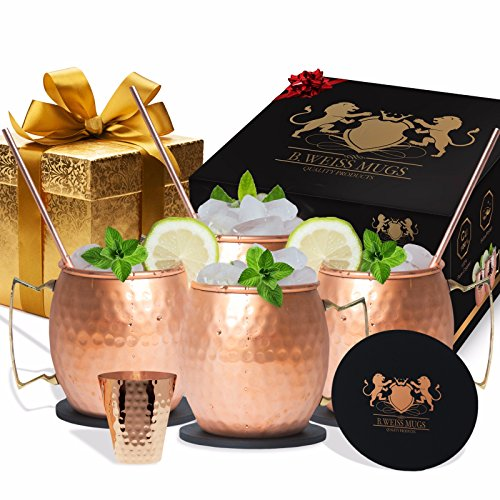 Copper Mugs Set Of 4-All Inclusive set- 100% HANDCRAFTED-Pure Solid Copper gift set +BONUS 4 copper straws +1 copper shot glass+ 4 coasters! (Drinking Team Mug)