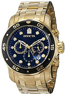 Invicta Men's 0072 Pro Diver Collection Chronograph 18k Gold-Plated Watch, Gold/Black by Invicta