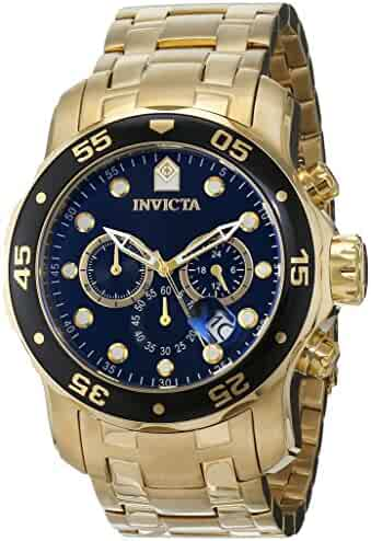 Invicta Men's 0072 Pro Diver Collection Chronograph 18k Gold-Plated Watch, Gold/Black