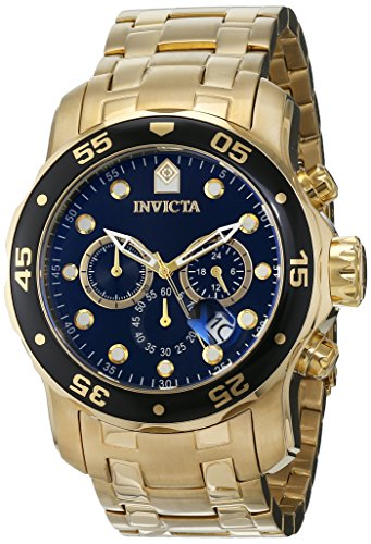Invicta Men's 0072 Pro Diver Collection Chronograph 18k Gold-Plated Watch, Gold/Black -