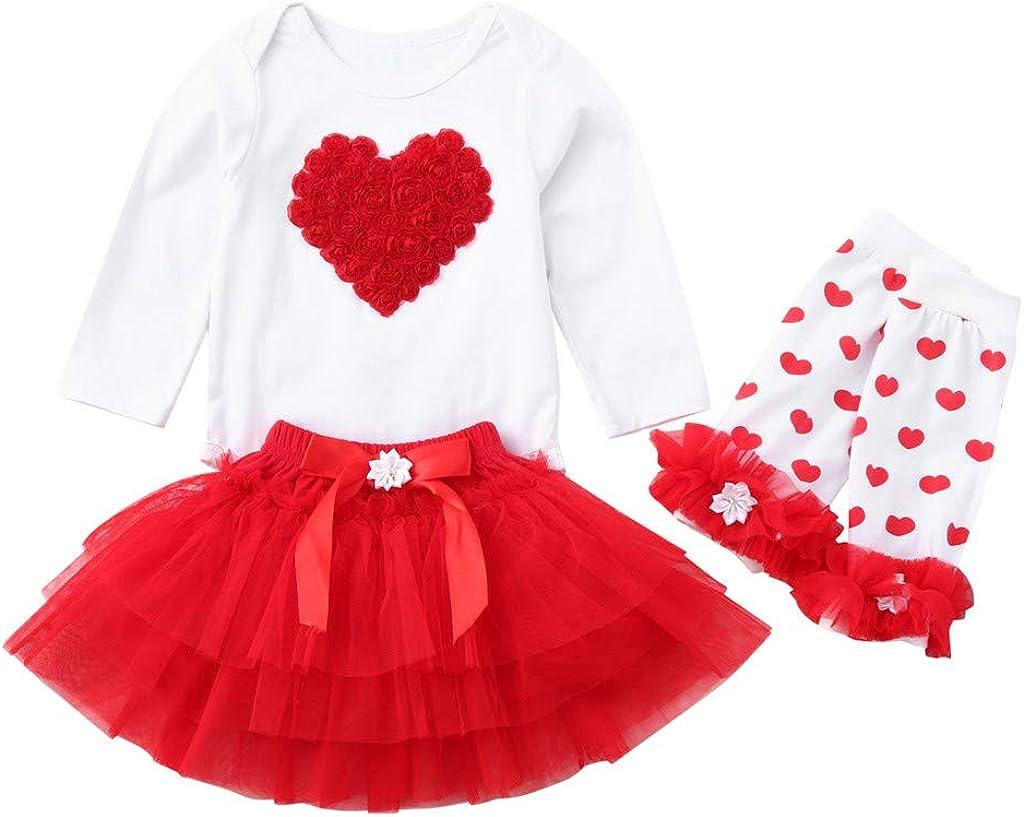 Jarsh Newborn Infant Baby Girl Heart Romper Tops+Tutu Tulle Skirt Leg Warmers Valentine Outfit Set