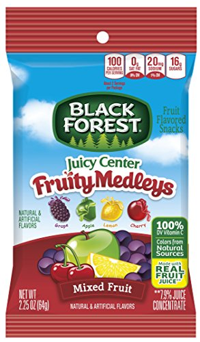 Black Forest Fruit Snacks with Juicy Burst Centers, Fruit Medley, 2.25 Ounce Bag, Pack of 48 (Snack Center)