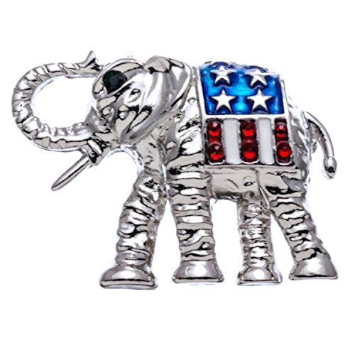 PammyJ Silvertone Red White and Blue Republican Elephant Brooch Pin
