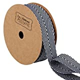 LaRibbons Twill Chevron Stripes Ribbon, Gift Wrap Ribbon, 3/4 Inch by 10 Yard/Spool, Black