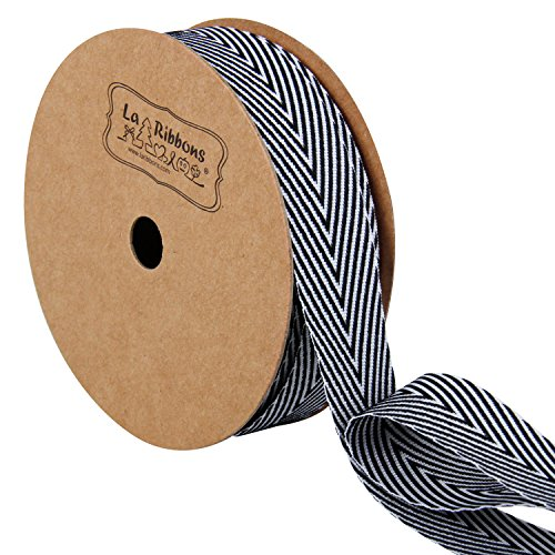 LaRibbons Twill Chevron Stripes Ribbon, Gift Wrap Ribbon, 3/