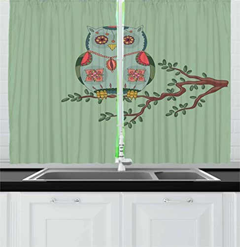 Lunarable Nursery Kitchen Curtains, Owl with Ornate Floral Elements on a Tree Branch Fantasy Forest, Window Drapes 2 Panel Set for Kitchen Cafe Decor, 55 X 39 , Reseda Green Brown Coral