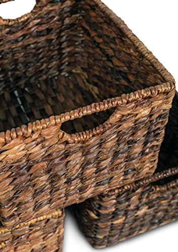 """BIRDROCK HOME Woven Storage Shelf Organizer Baskets with Handles - Set of 3 - Abaca Wicker Basket - Pantry Living Room Office Bathroom Shelves Organization - Under Shelf Basket - Handwoven (Espresso) - BEAUTIFUL ORGANIZATION: organize your home without missing out on a beautiful, decorative design. Keep your home shelves organized by using the baskets to stow away magazines, toys, books, dog toys, papers, files, electronics and other household items within the uniquely designed seagrass bins. Baskets are carefully handwoven giving each one a unique touch SPACIOUS INTERIOR: large interior measuring 8.25"""" H x 11.75"""" L x 10"""" W, gives you plenty of space to store a variety of household items. FITS MOST SHELVES: designed to fit most décor shelves, book shelves, pantry shelves, kitchen shelves, bathroom shelves, etc. (Measure shelves before purchasing to avoid returning) - living-room-decor, living-room, baskets-storage - 51Cv9y3NkEL -"""