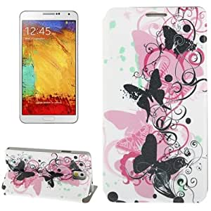 Butterfly Pattern Leather Case with Holder for Samsung Galaxy Note 3 / N9000