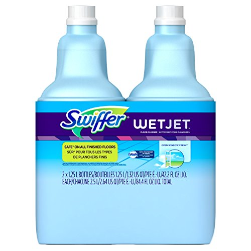 (Swiffer Wetjet Hardwood Floor Mopping and Cleaning Solution Refills, All Purpose Cleaning Product, Open Window Fresh Scent, 1.25 Liter, 2 Pack)