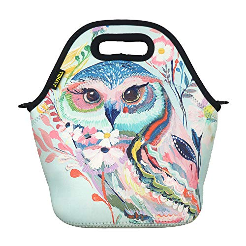 Neoprene Lunch Bag, Red Owl lunch bags for Women Kids Girls Men Teen Boys, Insulated Waterproof Lunch Tote Box for Work School Travel and Picnic]()