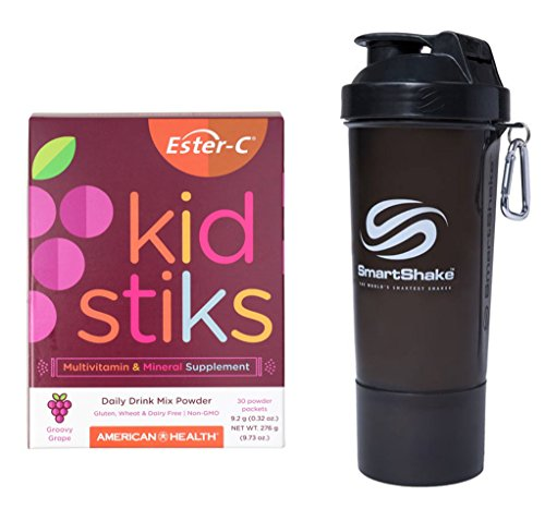 - American Health Ester-C Kidstiks Grape 30 Powder Packets in Bundle with Smartshake Slim Gunsmoke 17 oz.