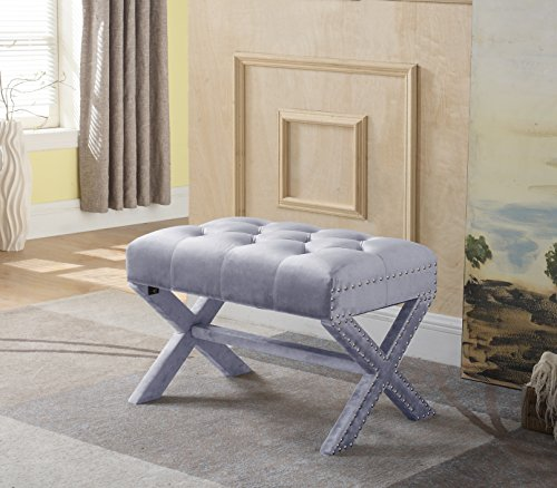 Iconic Home Keila Updated Neo Traditional Polished Nailhead Tufted Velvet X Ottoman, Grey (Narrow Bench Upholstered)