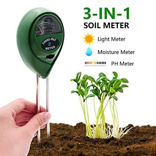 [2019 Upgraded] Soil Moisture Meter - 3 in 1 Soil Test Kit Gardening Tools for PH, Light & Moisture, Plant Tester for Home, Farm, Lawn, Indoor & Outdoor (No Battery Needed)