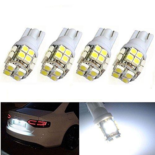 XT Auto 4pcs super White Cuña T10 20-SMD LED bombillas W5 W 2825 158 192 168 194 para maletero de coche tronco mapa luz número placa licencia luz: ...