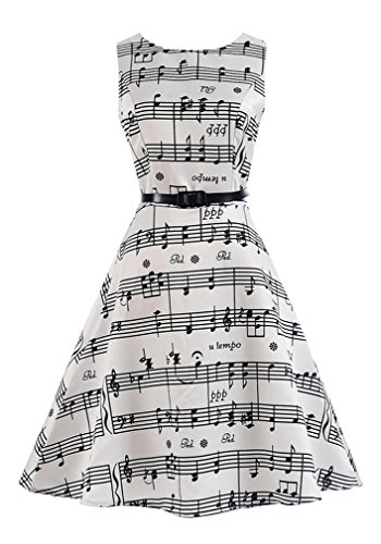 Killreal Girl's Vintage Summer Casual Cute A-line Dress with Music Note Print White M(10-12)/8-9 Years -