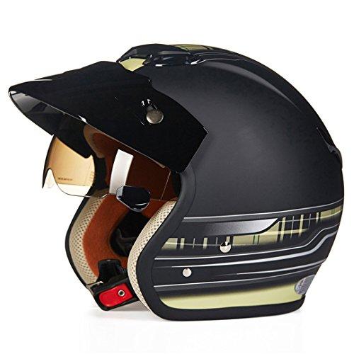 TOUKUI Face 3/4 Motorcycle Helmet Scooter Helmet Vintage Retro Motorcycle Safety Helmet matte black yellow L (Helmet Novelty Hawk)