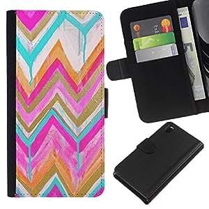 KLONGSHOP // Tirón de la caja Cartera de cuero con ranuras para tarjetas - Modelo del oro rosado de la acuarela - Sony Xperia Z3 D6603 //