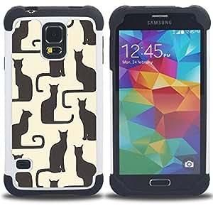 For Samsung Galaxy S5 I9600 G9009 G9008V - art beige black yellow kitten pattern Dual Layer caso de Shell HUELGA Impacto pata de cabra con im??genes gr??ficas Steam - Funny Shop -