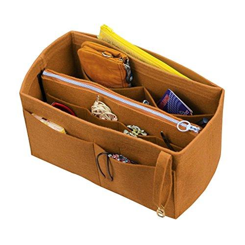 [Fits Various Bags, L.V Her.mes Long.champ Go.yard] Felt Tote Organizer (w/ Detachable Zipper Bag), Purse Insert, Cosmetic Makeup Diaper Handbag, Belongings Pocket by Hush Gecko