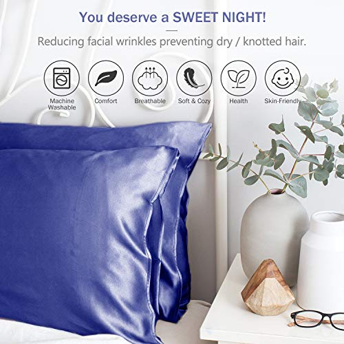 Duerer 2 Pack Silky Satin Pillowcases for Hair and Skin Standard/Queen/King Size Pillow Case with Envelope Closure (20