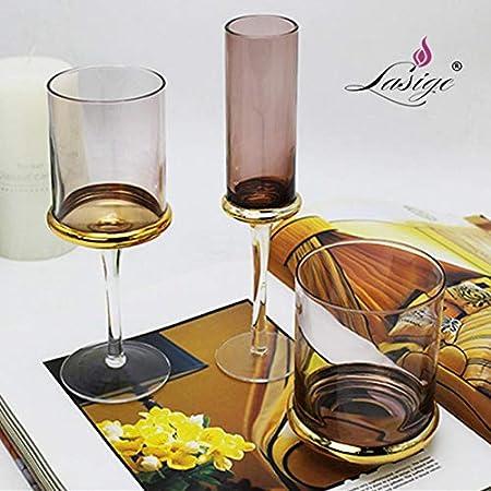HGTZ 301 ml-400 mlPolvo LigeroEuropeo EuropeoPintado a Mano Copa de Vino Tinto Dorado Copa de champán Vaso de Agua candelabro Muebles para el hogar