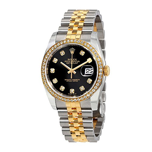 Rolex Oyster Perpetual Datejust 36 Black Dial Stainless Steel and 18K Yellow Gold Rolex Jubilee Automatic Ladies Watch (Rolex Datejust Perpetual)