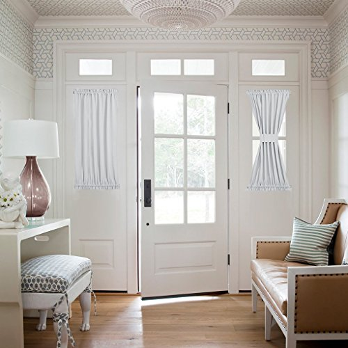 Greyish White Sidelight Door Panel - Room Darkening Side Lights Curtain and Drapery Thermal Inulated and Privacy Assured by NICETOWN (1 Panel, 40