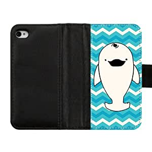 Get Your Own Style Of Black Leather Flip Wallet Case Otterbox For Iphone 4/4S - Credit Card Holder - Whale With Blue and White Chevron Pattern