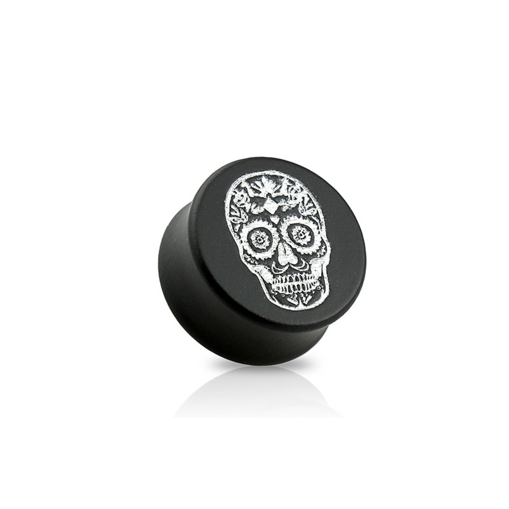 Dynamique Pair Of Double Flared Black Ebony Wood Saddle Plugs With Silver Sugar Skull Front