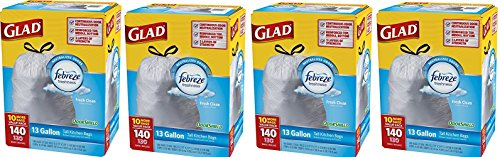 Glad Tall Kitchen Drawstring Trash Bags Odor Shield, 560 Count by Glad