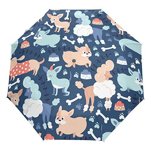 Wamika Cute Dogs Auto Umbrella Open Close Windproof Dachshund Poodle Bulldog Travel Umbrella Lightweight Compact Parasol Umbrellas Sun & Rain
