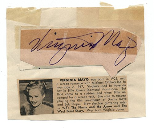 Actress Virginia Mayo (d.2005) Vintage Cut Signature Page
