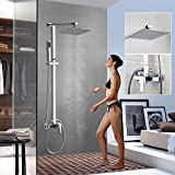 OUBONI Bathroom Shower System Faucet Set with Rainfall Shower Head & Handheld Shower Head Sprayer