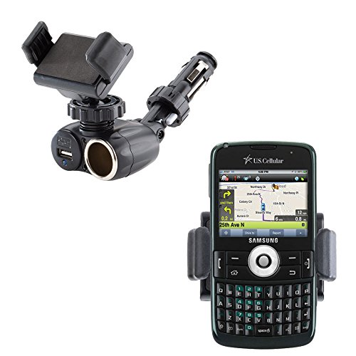 Unique Auto Cigarette Lighter and USB Charger Compact Mounting System Includes Adjustable Holder for the Samsung Exec - Exec Battery