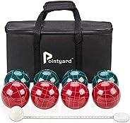 Pointyard Bocce Ball Set, Regulation 100mm Bocci Ball Sets with 8 Resin Bocce Balls,1 Pallino,Nylon Carrying B