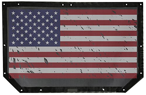 ALIEN SUNSHADE Jeep Wrangler Mesh Shade Top Cover with 10 Year Warranty Provides UV Protection for Front Passengers 2-Door or 4-Door JK or JKU (2007-2017) (American Flag Grunge) ()