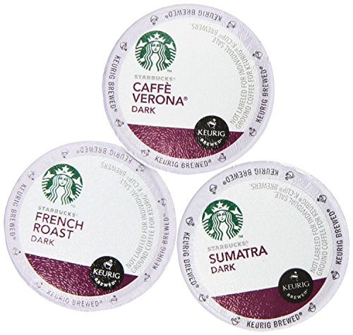 144 Pack - Starbucks Variety Coffee K-Cup Featuring 3 Dark Roast for Keurig Brewers - French Roast, Sumatra, Caffe Verona ()
