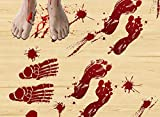 ThreeMay 87PCS Horror Bloody Handprints&Footprints Window Floor Clings, Halloween Decorations Decals Stickers Supplies for Halloween Vampire Zombie Party