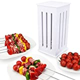 16 Holes Shish Kebab Maker with Bamboo Skewers Kabobs Brochette Express Fast Making Tools for Home BBQ Party