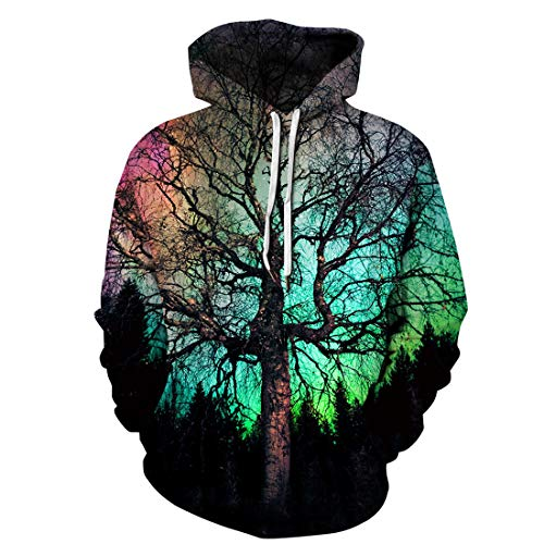 LinPink Unisex Realistic 3D Digital Print Pullover Hoodie Hooded Sweatshirt with Pocket (Large/X-Large, Black Green ()