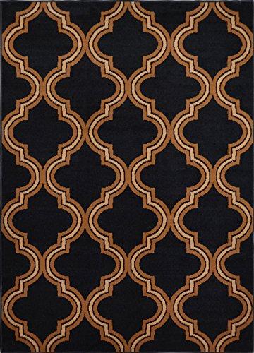 Modern Trellis Geometric Area Rug 2x7 Ebony Runner Carpet - Actual 1' 9