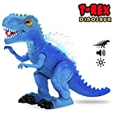 SAKIBO T-Rex Walking Dinosaur Toy with Roar Sounds Changing Lights Movement Realistic Dinosaur Action Figure Perfect Gift for Boys and Girls Light Blue Large 11in x 8in